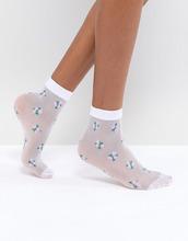 ASOS | Полупрозрачные носки с цветочным принтом ASOS - Белый | Clouty