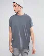 ASOS   Oversize-футболка из плотного трикотажа с молнией и отворотами на рука   Clouty