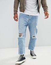 Brave Soul | Свободные укороченные джинсы с рваной отделкой Brave Soul - Синий | Clouty
