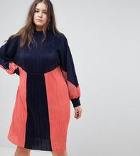 ASOS | Плиссированное платье колор блок ASOS DESIGN Curve - Мульти | Clouty