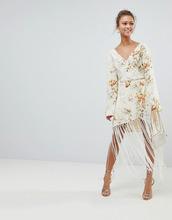 ASOS   Платье с запахом, бахромой и цветочным принтом ASOS DESIGN - Мульти   Clouty