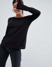 ASOS | Черный лонгслив из фактурного хлопка с круглым вырезом ASOS DESIGN - Черный | Clouty