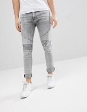 Religion | Байкерские джинсы скинни с рваными коленями Religion - Серый | Clouty
