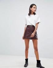 Goosecraft | Кожаная юбка с молнией Goosecraft - Фиолетовый | Clouty