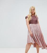 Coast | Бархатное платье с плиссированной юбкой Coast Curve Delores - Розовый | Clouty