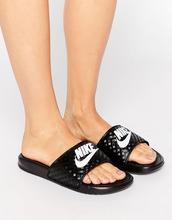 NIKE | Черные шлепанцы с логотипом Nike Benassi - Черный | Clouty