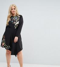 ASOS | Короткое приталенное платье с вышивкой ASOS CURVE - Черный | Clouty