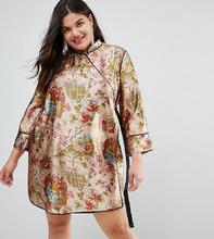 ASOS   Платье мини в китайском стиле с запахом и окантовкой ASOS CURVE   Clouty