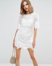 ASOS | Кружевное цельнокройное платье мини с вышивкой ASOS BRIDAL - Белый | Clouty
