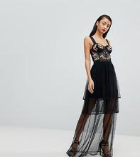 ASOS | Платье макси для выпускного с вышивкой ASOS TALL - Черный | Clouty