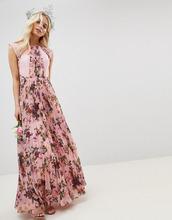 ASOS | Розовое плиссированное платье с короткими рукавами и цветочным принтом | Clouty