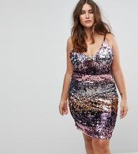 Club L   Платье на бретелях с пайетками Club L Plus - Розовый   Clouty