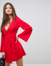 Fashion Union | Платье мини с запахом и широкими рукавами Fashion Union - Красный | Clouty