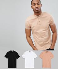 ASOS | Комплект из 3 трикотажных футболок-поло ASOS DESIGN - СКИДКА - Мульти | Clouty