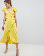 ASOS   Атласное платье миди с оборками и вырезом на спине ASOS DESIGN   Clouty