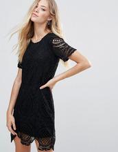 QED London | Платье мини с кружевным верхним слоем QED London - Черный | Clouty