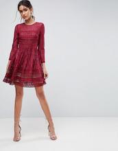 ASOS | Короткое приталенное кружевное платье ASOS PREMIUM - Красный | Clouty