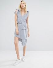 J.O.A. | Асимметричная мини-юбка в полоску с запахом J.O.A - Синий | Clouty