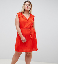 River Island | Свободное платье с оборками River Island Plus - Красный | Clouty