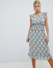 Vila | Платье с цветочным принтом и оборками Vila - Мульти | Clouty