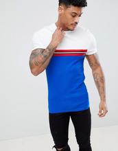 ASOS | Синяя обтягивающая футболка с контрастной отделкой и вставкой ASOS DESIGN - Синий | Clouty