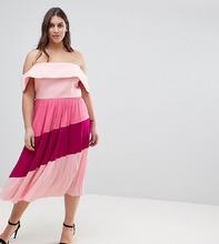 ASOS | Плиссированное платье миди ASOS CURVE - Розовый | Clouty