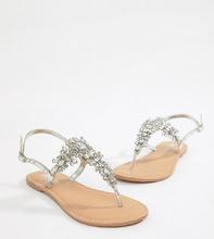 ASOS | Кожаные сандалии для широкой стопы с отделкой ASOS DESIGN - Серебряный | Clouty