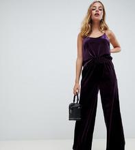 Y.A.S Petite | Бархатные укороченные брюки с завышенной талией Y.A.S Petitе - Фиолетовый | Clouty