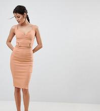 Vesper | Платье-футляр с глубоким вырезом и отделкой цвета розового золота Vesp | Clouty