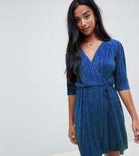 ASOS | Плиссированное платье мини с пуговицами ASOS DESIGN Petite - Синий | Clouty