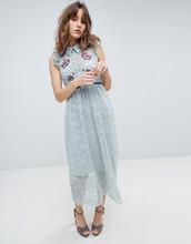 Hope And Ivy | Кружевное платье миди с вышивкой Hope & Ivy - Зеленый | Clouty