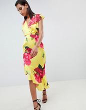 ASOS   Платье миди с глубоким вырезом и ярким цветочным принтом ASOS DESIGN   Clouty