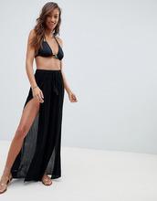 ASOS | Пляжные брюки с разрезом спереди ASOS DESIGN - Черный | Clouty