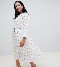 ASOS | Платье макси с пуговицами по бокам и цветочным принтом ASOS DESIGN Curve - Мульти | Clouty
