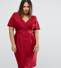 ASOS   Платье с запахом спереди ASOS CURVE - Красный   Clouty