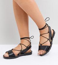 ASOS | Резиновые сандалии для широкой стопы с завязками ASOS FIZZLE - Черный | Clouty