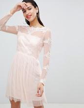 Vila | Сетчатое платье с кружевными вставками Vila - Розовый | Clouty