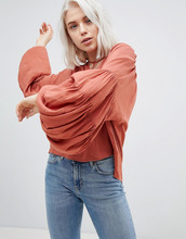 Weekday   Рубашка с пышными рукавами Weekday - Оранжевый   Clouty