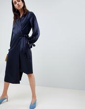 ASOS | Платье миди с запахом ASOS WHITE - Темно-синий | Clouty