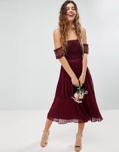 ASOS | Премиум-платье миди с кружевными вставками ASOS Bridesmaid - Красный | Clouty