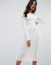 Boohoo | Платье миди с длинными рукавами Boohoo - Кремовый | Clouty