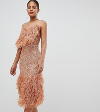 ASOS | Облегающее платье миди с пайетками ASOS DESIGN Tall - Розовый | Clouty