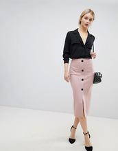 ASOS | Юбка-карандаш из ткани понте на пуговицах ASOS DESIGN - Розовый | Clouty