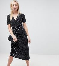 ASOS   Платье миди с запахом, асимметричным краем и принтом в горошек ASOS TALL - Мульти   Clouty