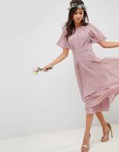 ASOS | Плиссированное платье миди с кружевными вставками и короткими рукавами ASOS DESIGN - Розовый | Clouty