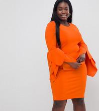 Club L   Облегающее платье с отделкой на рукавах Club L Plus - Красный   Clouty