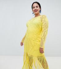 ASOS | Платье макси с вышивкой и бахромой ASOS DESIGN Curve - Желтый | Clouty