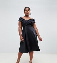 Boohoo   Короткое приталенное платье со спущенными плечами Boohoo Plus - Черный   Clouty