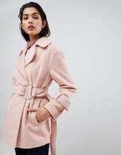 ASOS | Байкерское пальто с поясом ASOS - Розовый | Clouty