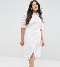 truly you | Платье-футляр с кружевным лифом и юбкой с запахом Truly You - Белый | Clouty